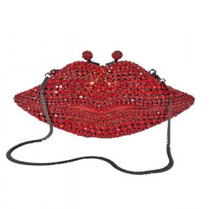 Jeweled Red Lips Evening Bag
