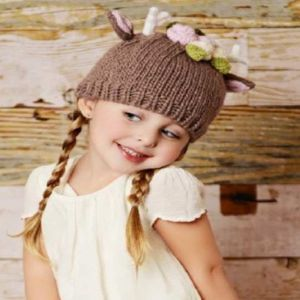 Hartley Deer Knit Hat with Flowers