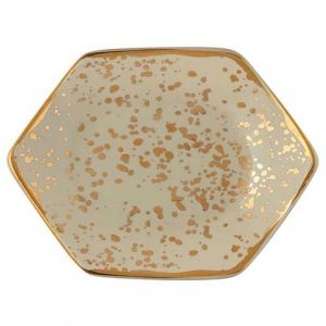 Speckled Cream and Gold Trinket Tray