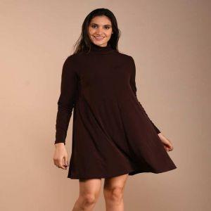 Brown Turtle Neck Swing Dress