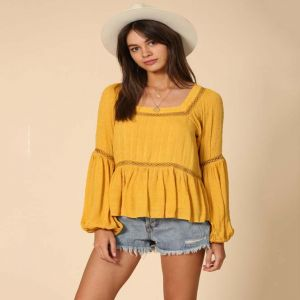 Bold Yellow Top with Inset Lace