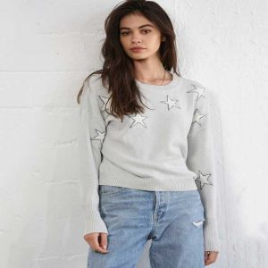 Light Grey Sweater with White Stars