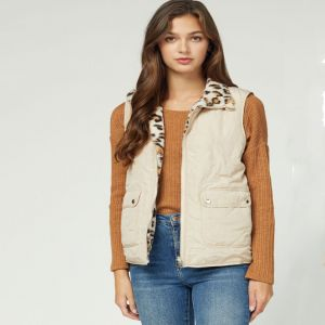 Reversible Sand and Faux Leopard Vest