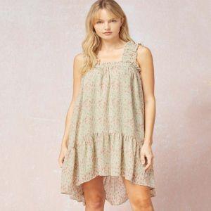 Sage and Pink Print High Low Dress