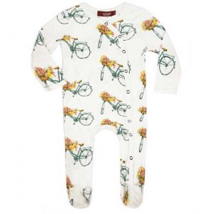 Floral Bicycle Bamboo Footed Romper