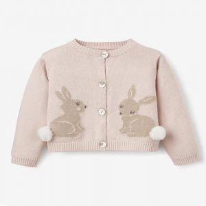 Pink Cotton Knit Bunny Cardigan