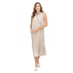 Taupe Button-Down Maxi Dress