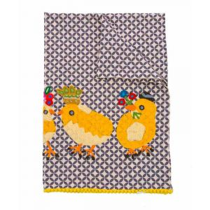 Embroidered Three Chicks Gathering Tea Towel