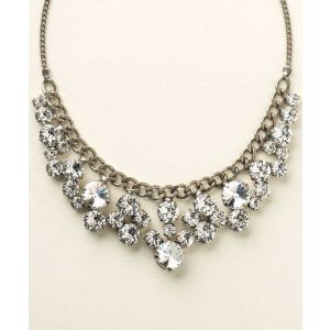 Round Crystal Cluster Bib Necklace