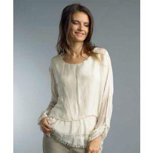 Beige Silk Layered Blouse