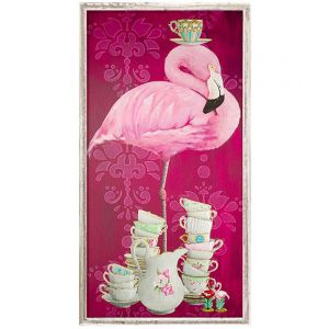 Tea Time Flamingo Framed Canvas