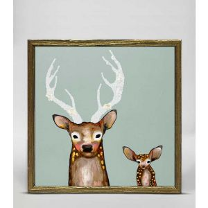 Frosted Buck and Baby Framed Art