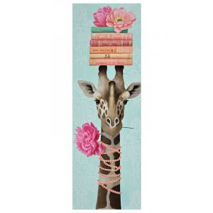 Giraffe Picking Peonies Wall Art
