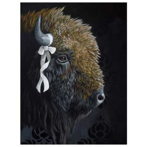 Bison wtih White Bow on Canvas