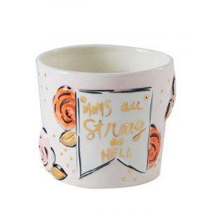Mom Strong Flower Pot