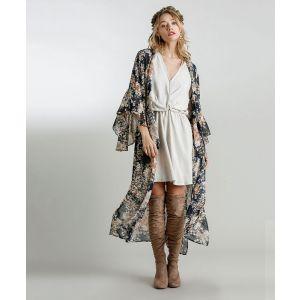 Sheer Navy Floral Maxi Kimono