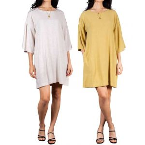 Linen Blend Tunic with Raw Trim Details