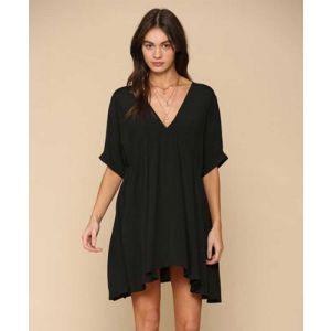 Black V-Neck Short Dress