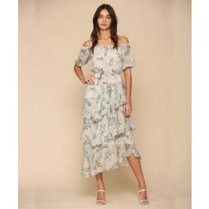 Botanical Print Yoru Chiffon Dress
