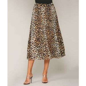 Pleated Leopard Skirt