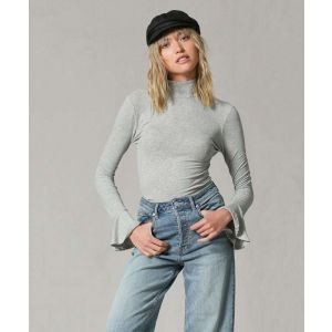 Gray Turtle Neck with Bell Long Sleeves