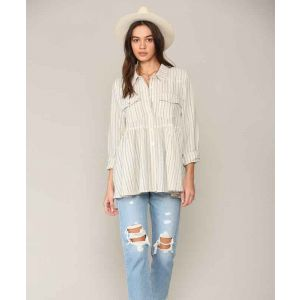 Blue and Ivory Vertical Striped Top