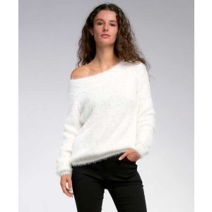 Off the Shoulder White Fuzzy Sweater