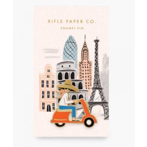 Scooter in Paris Enamel Pin