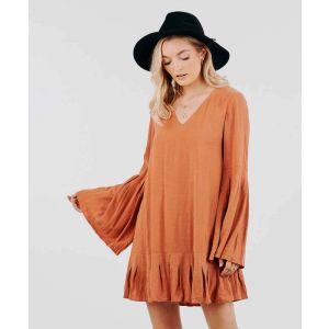 Burnt Orange Bell Sleeve Dress