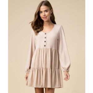 Taupe Waffle-Knit Tiered Dress