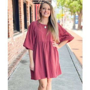 Textured Puff Sleeve Baby Doll Dress