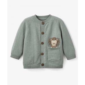 Sage Lion Knit Baby Cardigan