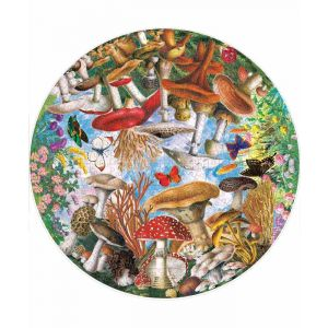 Mushrooms and Butterflies Round Puzzle